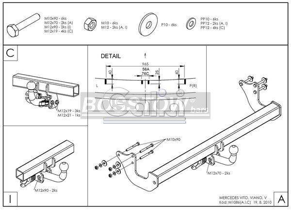 Anhängerkupplung für Mercedes-Vito - 2005-2010 W639, Fzg. o. Elektrosatz-Vorbereitung Ausf.:  horizontal