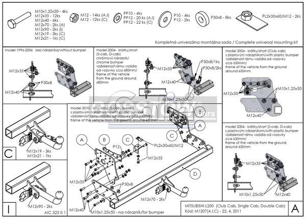Anhängerkupplung für Mitsubishi-L200 - 2006-2009 4WD, Fzg. mit Stossstange Ausf.:  horizontal
