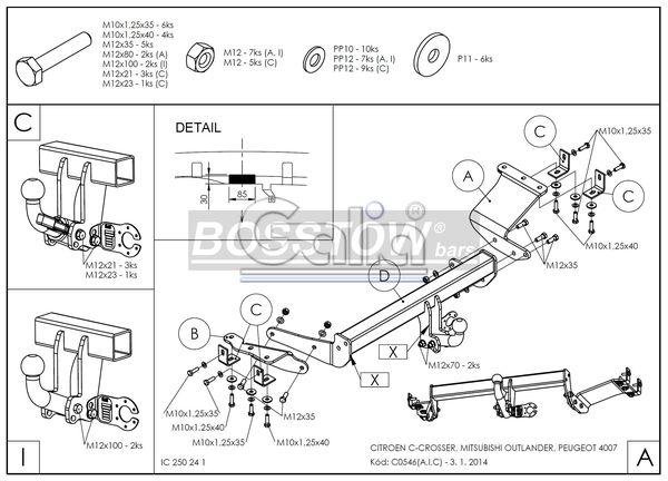 Anhängerkupplung für Mitsubishi-Outlander II, 2WD u. 4WD, incl. 7 Sitzer - 2007-2012