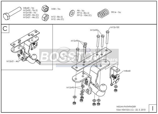 Anhängerkupplung für Nissan-Pathfinder - 2004-2013 R51 Ausf.:  horizontal