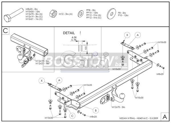 Anhängerkupplung für Nissan-X-Trail - 2002-2007 Ausf.:  horizontal