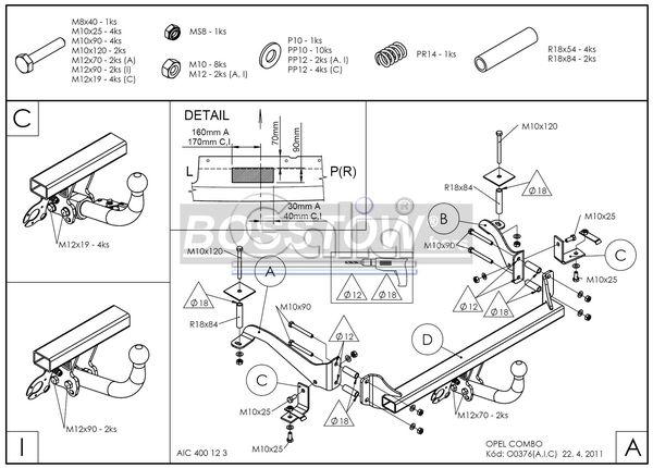 Anhängerkupplung für Opel-Combo - 2001-2011 C, incl. Tour Ausf.:  horizontal