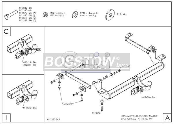 Anhängerkupplung für Opel-Movano - 2014- Kasten, Bus, Kombi, Frontantrieb, Fzg. mit Elektrosatz Vorbereitung Ausf.:  horizontal