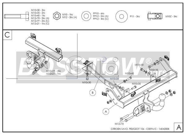Anhängerkupplung für Peugeot-106 - 1996- Ausf.:  horizontal