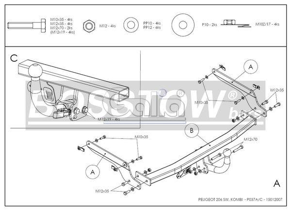 Anhängerkupplung für Peugeot-206 - 2002- Kombi Ausf.:  horizontal
