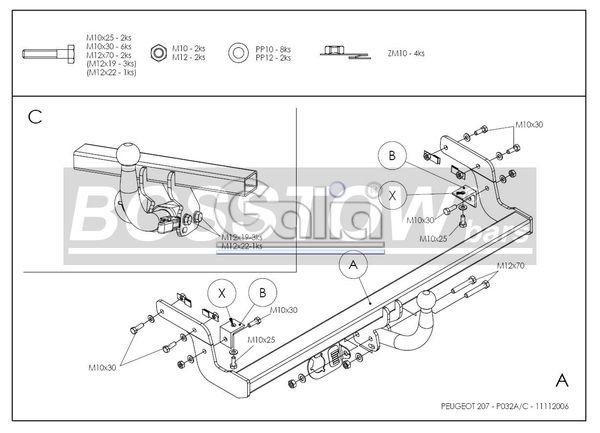 Anhängerkupplung für Peugeot-207 - 2006- Cabrio, CC Ausf.:  horizontal