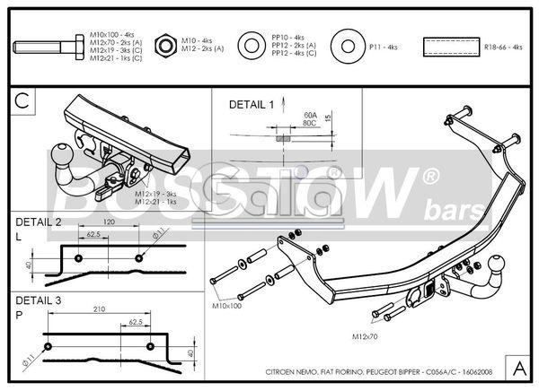 Anhängerkupplung für Peugeot-Bipper - 2008- Kasten, auch Tepee Ausf.:  horizontal