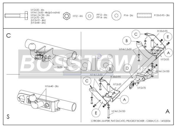 Anhängerkupplung für Peugeot-Boxer - 1994-2002 Kasten/ Bus/ Kombi 2 WD Ausf.:  horizontal