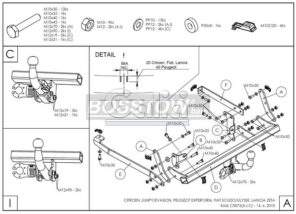 Anhängerkupplung für Peugeot-Expert - 1996-2007 Kasten/ Bus/ Kombi Ausf.:  horizontal