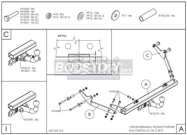 Anhängerkupplung für Peugeot-Partner - 1996-2000 Kasten/ Bus/ Kombi Ausf.:  horizontal