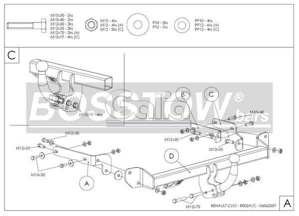 Anhängerkupplung für Renault-Clio - 2001-2004 II Fließheck, nicht 16V 1,8 Rsi Baccara Ausf.:  horizontal
