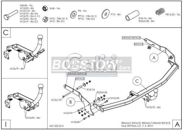 Anhängerkupplung für Renault-Grand Espace - 2002- (JKO) Ausf.:  horizontal