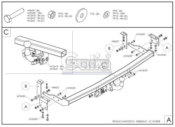 Anhängerkupplung für Mercedes-Citan - 2012- Lang 4321mm, Extralang 4705mm Ausf.:  horizontal