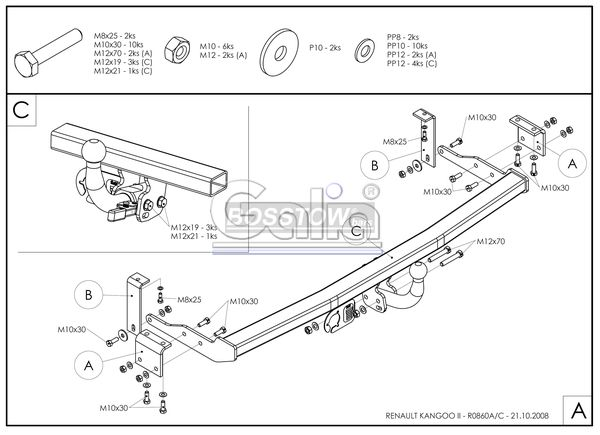 Anhängerkupplung Mercedes-Citan Lang 4321mm, Extralang 4705mm, Baujahr 2012-