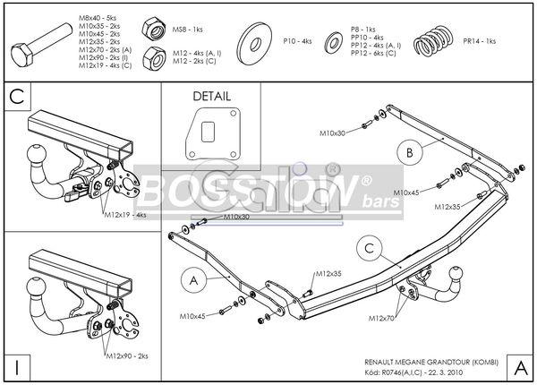Anhängerkupplung für Renault-Megane - 2003-2007 Classic Lim Ausf.:  horizontal
