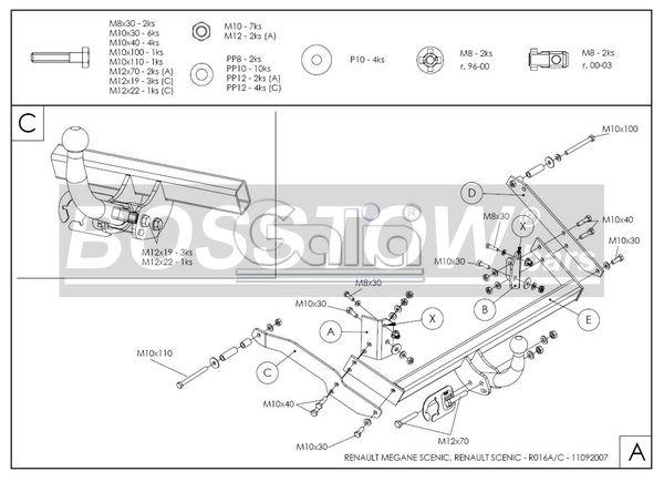 Anhängerkupplung für Renault-Scenic - 2000-2003 Scenic I, nicht 2. 0 16V Ausf.:  horizontal