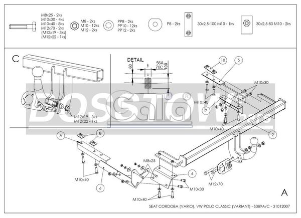 Anhängerkupplung für Seat-Cordoba - 1999- Kombi Ausf.:  horizontal