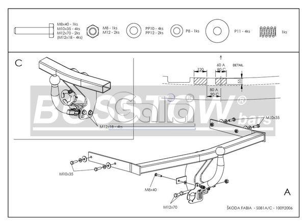 Anhängerkupplung für Skoda-Fabia - 2010-2014 Fließheck, nicht RS Ausf.:  horizontal
