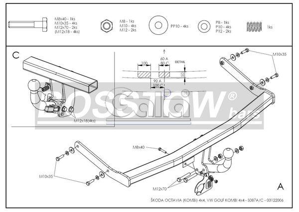 Anhängerkupplung für Skoda-Octavia - 1998-2010 1U Kombi, 4x4 Ausf.:  horizontal