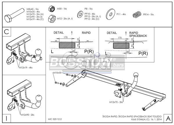 Anhängerkupplung für Skoda-Rapid - 2013-2015 Spaceback Ausf.:  horizontal
