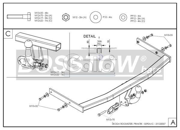 Anhängerkupplung für Skoda-Roomster - 2006-2010 Ausf.:  horizontal