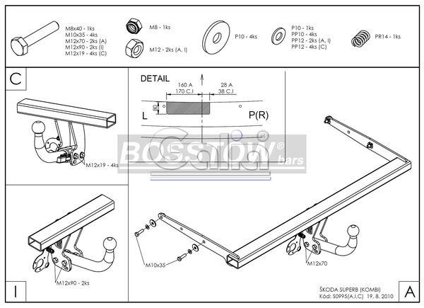 Anhängerkupplung für Skoda-Superb - 2009-2015 Superb II Kombi Ausf.:  horizontal