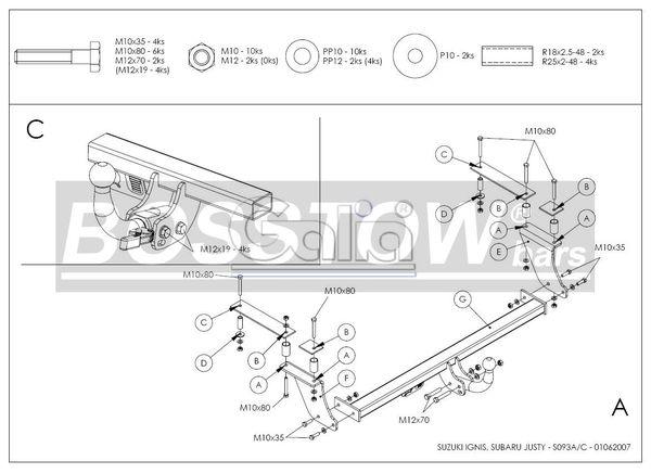 Anhängerkupplung für Subaru-Justy - 2003-2007 IV Ausf.:  horizontal