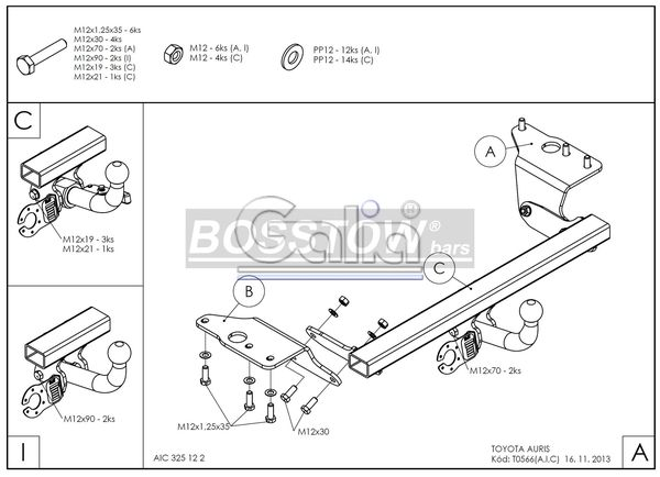Anhängerkupplung für Toyota-Auris - 2013- Fließheck Ausf.:  horizontal
