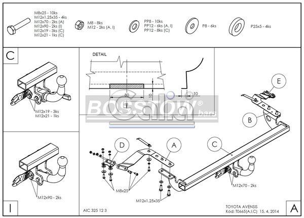 Anhängerkupplung für Toyota-Avensis - 2003-2009 T25, Limousine Ausf.:  horizontal