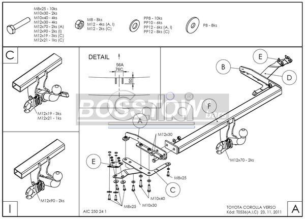 Anhängerkupplung für Toyota-Corolla - 2004-2009 (R1) Verso Ausf.:  horizontal