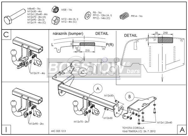 Anhängerkupplung für Toyota-Corolla - 2007- (E15) Stufenheck Ausf.:  horizontal