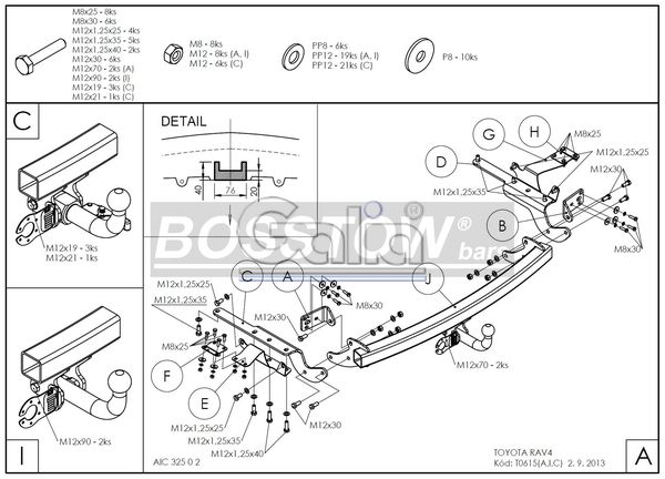 Anhängerkupplung für Toyota-RAV 4 - 2013-2016 IV (XA3) Ausf.:  horizontal