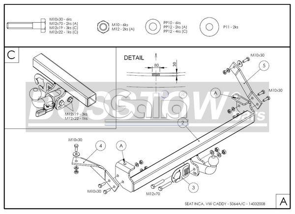 Anhängerkupplung für VW-Caddy - 1995-2003 II, Kasten/ Bus/ Kombi Ausf.:  horizontal