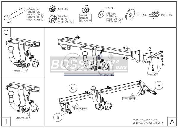 Anhängerkupplung für VW-Caddy III, IV, Cross, Baujahr 2013-2015