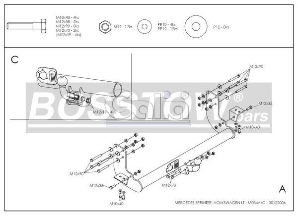 Anhängerkupplung für VW-LT - 1995-2006 40-46, Kasten/ Bus, Heckantr. , Radstd. 4,025 m, doppelbereift, ohne Tritt Ausf.:  horizontal