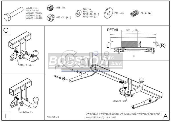 Anhängerkupplung für VW-Passat - 2010-2014 3c, incl. 4-Motion, Limousine Ausf.:  horizontal