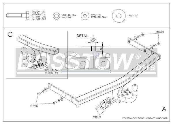 Anhängerkupplung für VW-Polo - 2001-2005 (9N)Steilheck/ Coupé, inkl. Cross, nicht Fun Ausf.:  horizontal