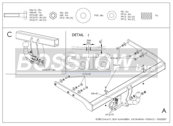 Anhängerkupplung für VW-Sharan - 1995-1997 nicht 4x4, Fzg. ohne Parktronic Ausf.:  horizontal