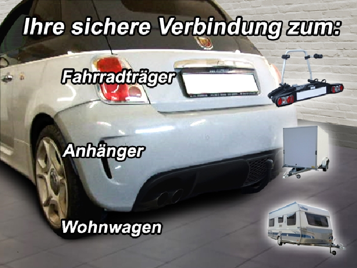 Anhängerkupplung für Fiat-500 Abarth - 2007-2016 spez. Abarth 500, 595 Ausf.:  vertikal